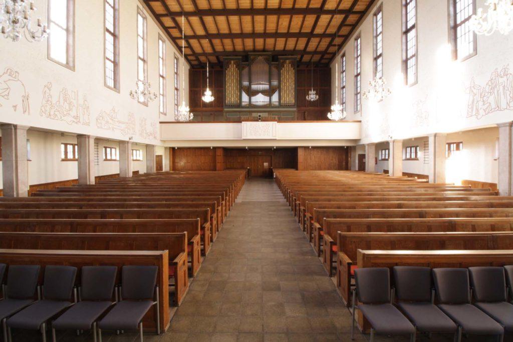 Kreuzkirche mit Eule-Orgel, Foto: Malik Ouada
